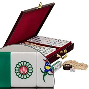 36 Circles, 36 Bamboos, 36 Characters, 12 Dragons, 16 Winds (N, E, S, W), 8 Flowers And Seasons, And 4 Blank Spares. - Chinese Mahjong Set w/ Translucent Green Tiles - ''Emerald'' - Standard