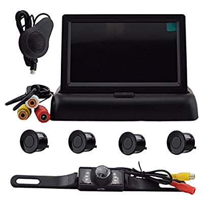 Elife Hot Sell Popular Weatherproof 4 Parking Sensors Car Backup Reverse Radar Kit Voice Alert Radar Detectors +4.3 Inch Color LCD TFT Car Rear View Monitor+ LED Reversing Color Video Camera Kits from The Rear View Camera Center