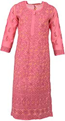ALMAS Lucknow Chikan Women's Cotton Regular Fit Kurti (Carrot Pink)