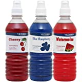 VICTORIO Shaved Ice/Snow Cone Syrup, Cherry, Blue Raspberry, Watermelon 3PK