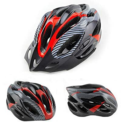 Outdoor Manager UK-Bicycle Cycle Safty Helmet Adult Mens Bike Helmet Red Carbon Color With Visor from Outdoor Manager UK