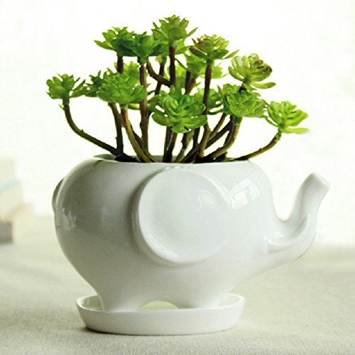 VGE Elephant White Ceramic Succulent Planter Flower Pot Window Box with Saucer