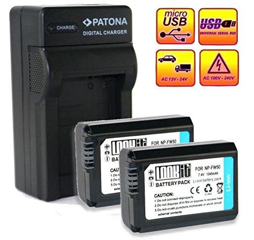 LOOKit Set - inkl. 4in1 Ladegerät mit micro USB Anschluss + 2x LOOkit Markenakku für Sony FW50 -- passend zu: Sony NP-FW50 / 1045mAh -- passend für Sony Alpha 7 / Sony Alpha 7R II / Sony ILCE-QX1L / Sony ILCE-QX1L / Sony QX1L / Sony Alpha 5100 / Sony Alpha 5000 / Sony Alpha 6000 / Sony Alpha 7 / Sony CyberShot DSC RX10 -- Sony NEX-6 NEX-F3 NEX-7 NEX-7B NEX-7C NEX-7K NEX-3 NEX-C3 NEX-3N NEX-5 NEX-5N NEX-5K NEX-5R SLT A55 A33 A35 A37