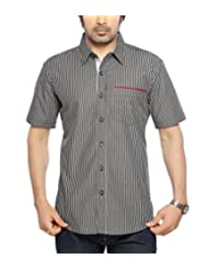 Moksh Black Grey Slim Fit Cotton Shirt V2IMS0414-34