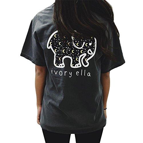 Xocity -  T-shirt - Stampa animalier - Donna nero Medium