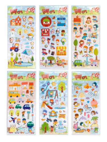 Children's 6-pack Happy Day Series Reusable Puffy Sticker Bundle for use with Sticker Farm Activity Books