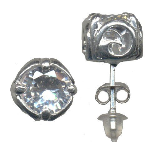 10 mm Cubic Zirconia Stud Ying Yang Men's Single Earring (Only one earring, image shows both angles)