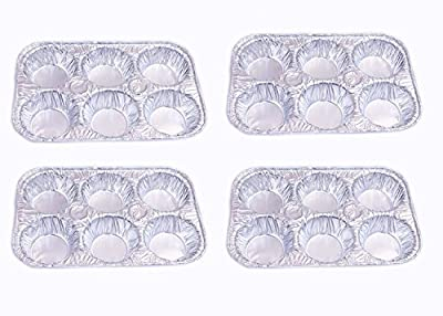 Set of 4 Muffin Pans, Aluminum Foil Disposable Muffin Pans, 6 Cavity Compartments