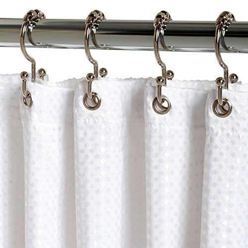 Zenna Home 96ss Double Roller Shower Curtain Hooks Chrome New Ebay