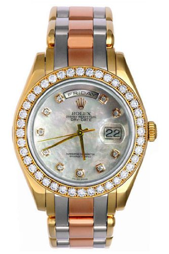 Rolex Day-Date Masterpiece Tri-Color Gold Watch, White MOP Diamond Dial