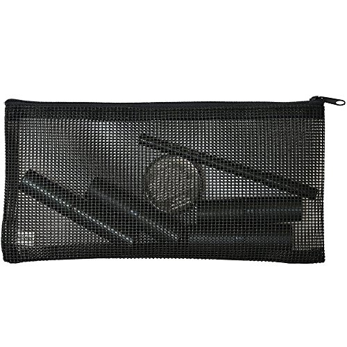 Zipper Mesh Toiletry Cosmetic Makeup Pencil Case Pouch Bag - Small To Medium Zippered Black Clear See Through Great For Makeup, Gym & Travel For Men, Women & Children - Perfect Stationary Storage Too (Cargo Lip Liner compare prices)