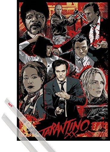 Poster + Sospensione : Quentin Tarantino Poster Stampa (91x61 cm) Tarantino Xx, Collection E Coppia Di Barre Porta Poster Trasparente 1art1®