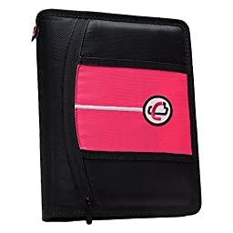 Case-it Mini Tab 3 Ring Binder with 1 Inch Capacity, Neon Pink (MBF-711-NEO-Pnk)