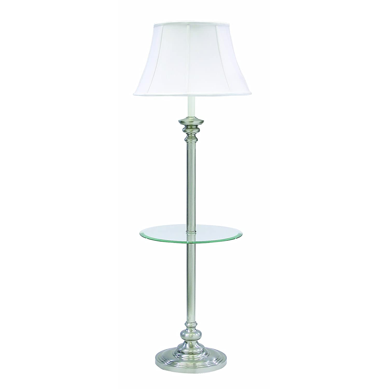 floor lamp with table pewter with off white softback shade check. Black Bedroom Furniture Sets. Home Design Ideas