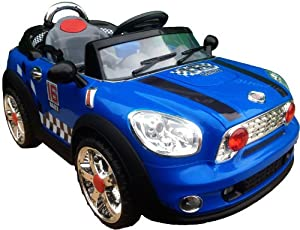 NEW DESIGN KIDS RIDE ON 12V TWIN MOTORS BLUE MINI COOPER STYLE RECHARGEABLE ELECTRIC CAR + parental remote control + soft leather seat + battery capacity indicator + mp3 input + music volume control. (BLUE MINICOOPER)