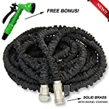[NOW UPGRADED] 75ft Heavy Duty Expandable Garden Hose - Designed for Garden Watering, Car/Pet Washing - Premium Exterior, Solid Brass Ends, High Pressure Resistant, 7 Spraying Patterns