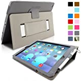 Snugg iPad Air (iPad 5) Case in Grey Leather - Flip Cover and Stand with Automatic Wake / Sleep, Elastic Hand Strap & Soft Premium Nubuck Fibre Interior to Protect Apple iPad Air (iPad 5) - Includes Lifetime Guarantee
