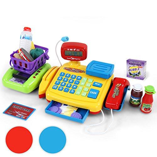 Infantastic - Jeu d'imitation - Jouet caisse enregistreuse avec scanner - Rouge - avec nombreux accessoires - 2 COLORIS AU CHOIX