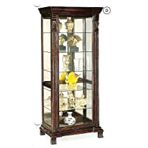 Hot Sale Coaster Glass Shelves Curio China Cabinet, Cappuccino Wood Finish