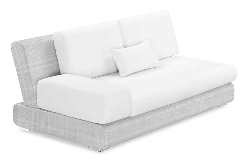 100Essentials 8006201 (Wick-Bg-Champ)-(Cush-Blk-Wh) Sumba Loveseat with Armrest and Cushion - Black/White