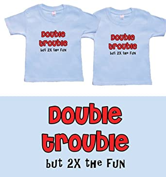 Twin Boys Gift Set (Includes 2 Blue T-Shirts - Double Trouble 2X Fun, size 12-18 mo)