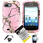 4 items Combo: ITUFFY (TM) LCD Screen Protector Film + Mini Stylus Pen + Case Opener + Design Rubberized Snap on Hard Shell Cover Faceplate Skin Phone Case for ZTE Fury N850, ZTE Director N850L, and ZTE Valet Z665C, Android Smartphone (Pink Tree Camouflage)