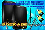 """PACKAGE! Two x JBL EON615 15"""" Reinforcement Portable Speakers + 2x Speaker Stands + 2x Xlarge to Xlarge XTX 25Ft Cables"""