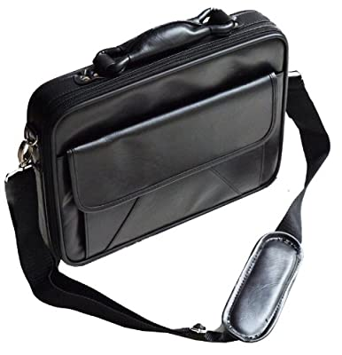 """Black Widescreen Laptop Notebook Bag Carry Case For All Laptops & Large Netbooks From 14 To 17 Inches And Acer Apple Mac Asus Samsung Dell Sony Hp Toshiba Lenovo Packard Bell Net Book Faux Leather 14"""" 15"""" 16"""" 17"""" by Vivo"""