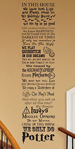 Harry Potter inspired In this House We Do Potter CUSTOMIZABLE Vinyl wall Decal inspired by- fandom harry potter geekery hogwarts patronus platform ministry magic quote (Good Company Always Welcome Decal compare prices)