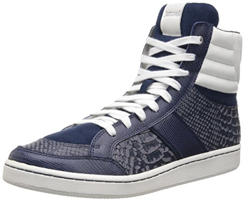 Just Cavalli Men's Reptile Printed Hightop Fashion Sneaker, Dark Blue, 40 EU/7 M US