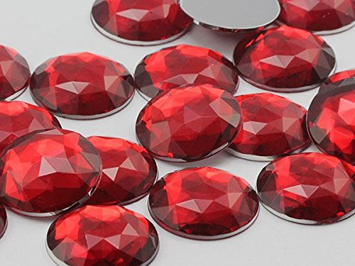 30mm Red Ruby H103 Flat Back Round Acrylic Gems High Quality Pro Grade - 12 Pieces (Flat Back Gem compare prices)
