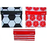 LunchSkins Reusable Sandwich and Snack Bags Set - 3 Pack - Soccer, Oranges, Red Stripes