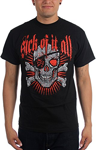 Sick Of It All-& Crossbones Skull-Maglietta da uomo nero Medium