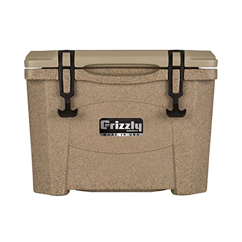 Grizzly 15 Qt Heavy Duty Ice Retention Cooler Ice Chest - Sandstone/Tan - Made in USA