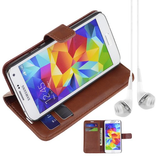 Pu Leather Folio Book Style Flip Cover Stand Case For Samsung Galaxy S5 S 5 Sv - Brown + Vangoddy Headphone With Mic , White