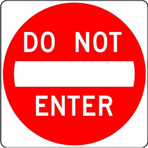Street & Traffic Sign Wall Decals - Do Not Enter Sign - 12 inch Removable Graphic