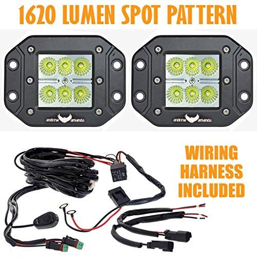 2X 18W Square Led Work/Driving Light - Flush Mount - Spot Pattern W/ Wiring Harness