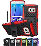 Galaxy S7 Edge Case, OEAGO Samsung Galaxy S7 Edge Cover Accessories - Tough Rugged Dual Layer Protective Case with Kickstand for Samsung Galaxy S7 Edge - Red