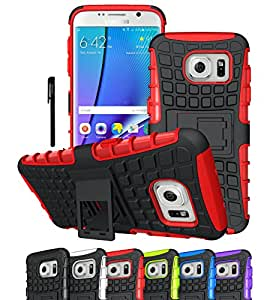 Galaxy S7 Edge Case, OEAGO Samsung Galaxy S7 Edge Cover Accessories - Tough Rugged Dual Layer Protective Case with Kickstand for Samsung Galaxy S7 Edge - Red