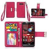 IZENGATE Motorola Droid RAZR M (XT907) Wallet Case - Executive Premium PU Leather Flip Cover Folio with Stand (Deep Rose Pink)