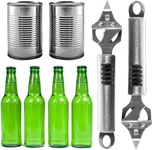 Bottle Opener & Can Punch Multitool by Natures Kitchen – Commercial Grade Stainless Steel