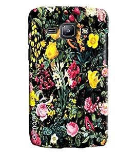 Omnam Beautiful Flower Pattern On Black Printed Designer Back Cover Case For Samsung Galaxy J1