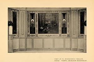 1908 Print W. Bernatzik Yellow Room Vienna Secession - Original Halftone Print
