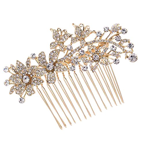 Butterfly Hair Pins Flower Hair Comb Bridal Wedding Jewelry Women Hair Accessories Austrian Crystals Combs 2256R (Golden)