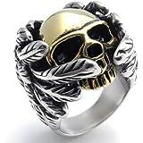 KONOV Jewelry Stainless Steel Gothic Wing Skull Men's Ring
