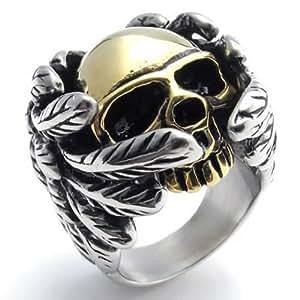 KONOV Bijoux Bague Homme - Aile Ange Tête de mort - Crâne Gothique Diable - Motard Biker - Tribal - Acier Inoxydable - Anneaux - Fantaisie - pour Homme - Couleur Or Argent - Taille 54