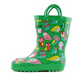 Lone Cone Children's Waterproof Rubber Rain Boots in Fun Patterns with Easy-On Handles Simple For Kids