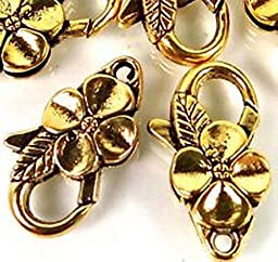 Smith Beads 25x14mm Large Antique Gold Pewter Flower Lobster Claw Clasps 5 beads Lead-Free
