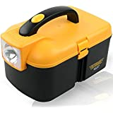 HOME CUBE® 1 Pc Battery Operated Lighting Multifunctional Storage Box With LED Torch Cum Tool Box Car Kit. Black...
