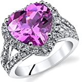 5.00 Carats Heart Shape Created Pink Sapphire Ring Sterling Silver Sizes 5 to 9